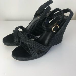 Express black sandals, wedges, ankle strap size 9